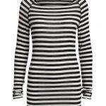 Gai + Lisva Amalie Medium Stripe Top - Off White/Black