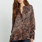 Rails Pearl Henley Shirt - Cinnamon Mixed Animal
