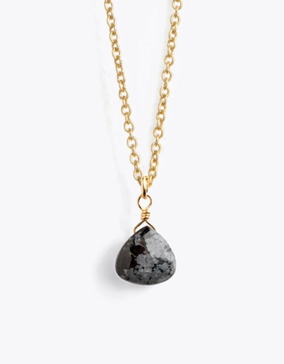 Wanderlust Life Fine Gold Chain Necklace - Obsidian