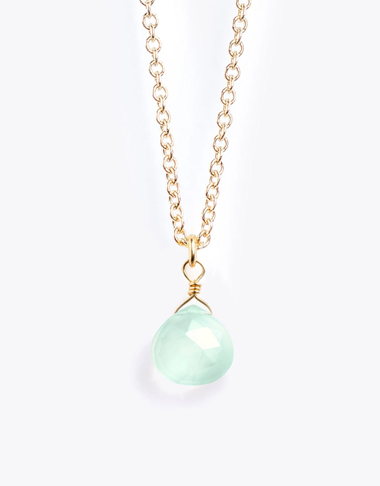 Wanderlust Life Fine Gold Chain Necklace - Sea Glass Chalcedony