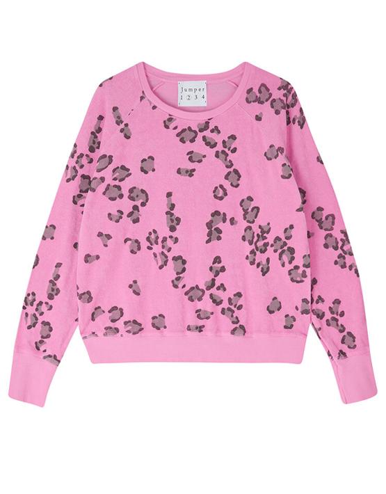 Jumper 1234 Terry Leopard Sweatshirt - Neon Pink