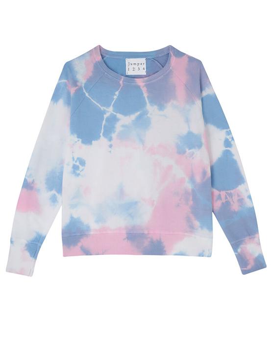 Jumper 1234 Tie Dye Sweatshirt - White/Blossom/Sky